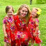 2019 Anne Kız Elbise Modelleri Kırmızı Kısa Çiçek Desenli Kısa Kol