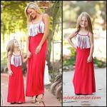 2019 Anne Kız Elbise Modelleri Kırmızı Uzun İp Askılı Püsküllü Yaka