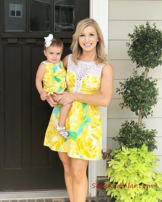 Anne Kız Elbise Modelleri Sarı Kısa Kolsuz Desenli Dantel