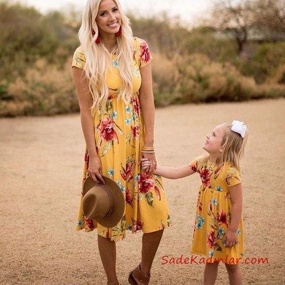 2019 Anne Kız Elbise Modelleri Sarı Midi Kısa Kol Çiçek Desenli