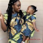 2019 Anne Kız Elbise Modelleri Yeşil Kısa Desenli Kısa Kol