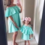 2019 Anne Kız Elbise Modelleri Yeşil Kısa Omzu Açık Düşük Kol Fırfırlı Yaka