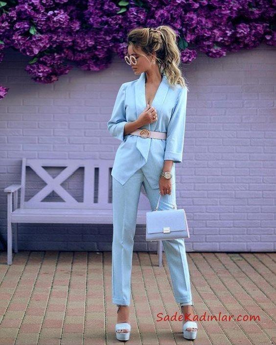 2019 Bayan Ceket Pantolon Kombinleri Bebek Mavisi Pantolon ve Ceket Kemer Aksesuarlı