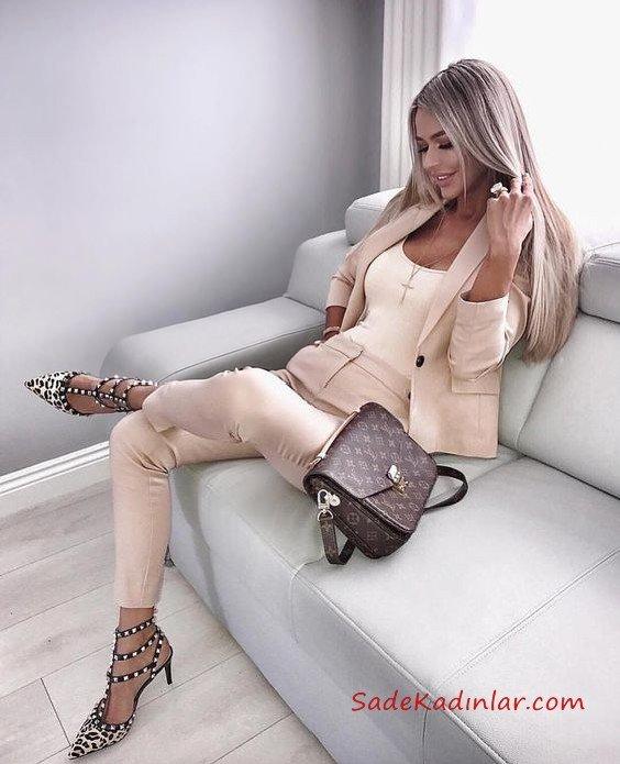 2020 Bayan Ceket Pantolon Kombinleri Krem Pantolon ve Ceket Krem Askılı Bluz