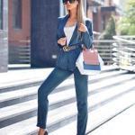 2019 Bayan Ceket Pantolon Kombinleri Lacivert Pantolon ve Ceket Beyaz Bluz