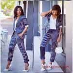 2019 Bayan Ceket Pantolon Kombinleri Lacivert Çizgili Pantolon ve Ceket Beyaz Bluz
