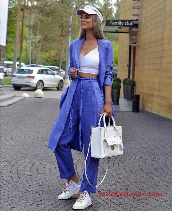 2019 Bayan Ceket Pantolon Kombinleri Mor Bol Kesim Pantolon ve Ceket Beyaz Kısa Bluz