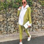 2019 Bayan Ceket Pantolon Kombinleri Yeşil Pantolon ve Ceket Beyaz Kapşonlu Sweet