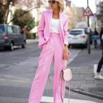 2019 Bayan Ceket Pantolon Kombinleri Şeker Pembe Bol Kesim Pantolon ve Ceket Beyaz Bluz
