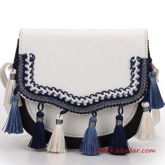 2019 Bayan Çanta Modelleri Beyaz İşlemeli Püskül Aksesuarlı