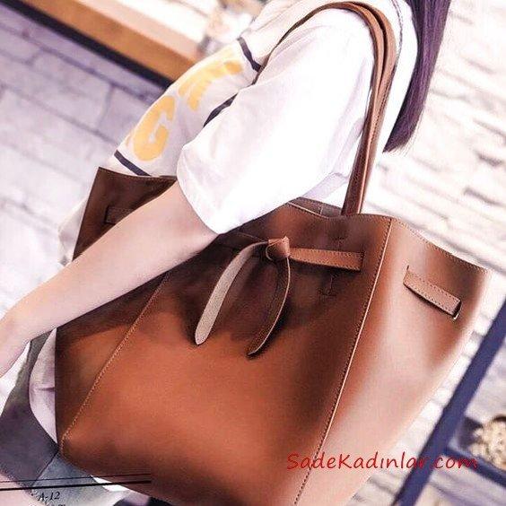 2019 Bayan Çanta Modelleri Kahverengi Saplı Kumaş İp Geçmeli Bağcıklı