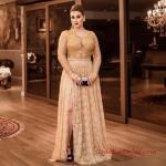 2019 Büyük Beden Abiye Modelleri Gold Uzun V Yaka Uzun Kol İşlemeli Yırtmaçlı