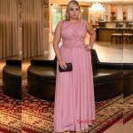 2019 Büyük Beden Abiye Modelleri Pembe Uzun Kolsuz Kloş Etek İşlemeli