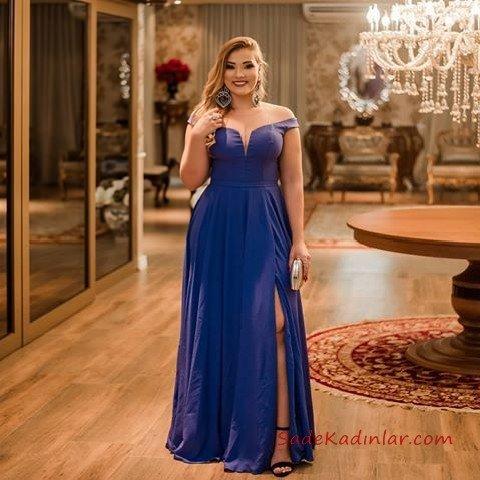 2019 Büyük Beden Abiye Modelleri Saks Mavi Uzun Omzu Açık Düşük Kol Yırtmaçlı