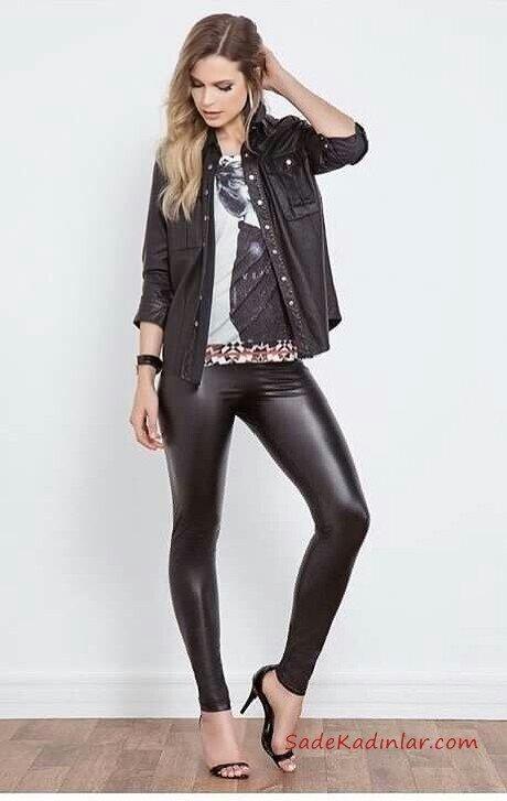 2019 Deri Tayt Kombinleri Siyah Deri Tayt Gri Desenli Bluz Siyah Spor Gömlek Siyah Stiletto Ayakkabı