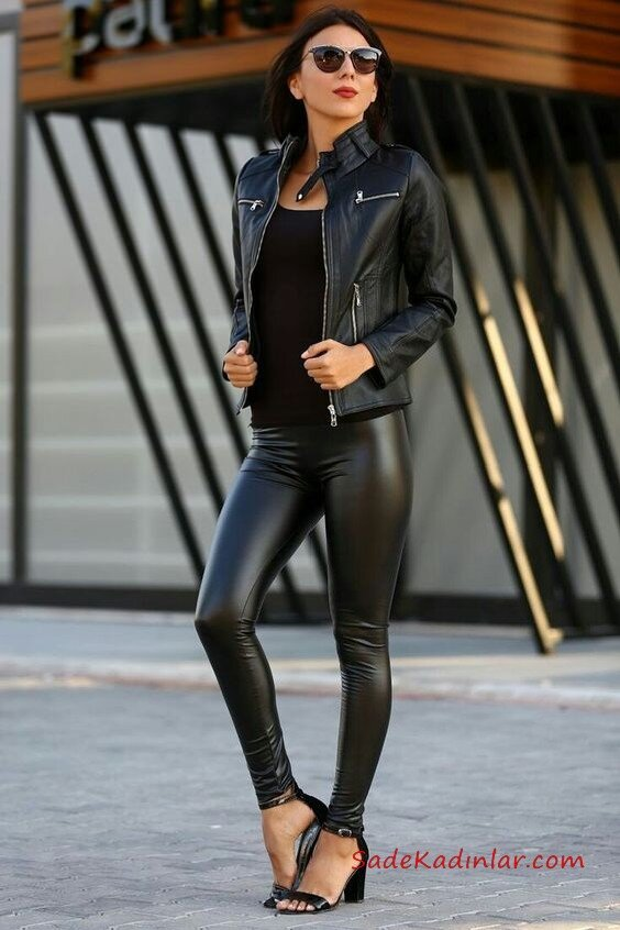 2019 Deri Tayt Kombinleri Siyah Deri Tayt Siyah Bluz Siyah Kısa Deri Ceket Siyah Topuklu Ayakkabı