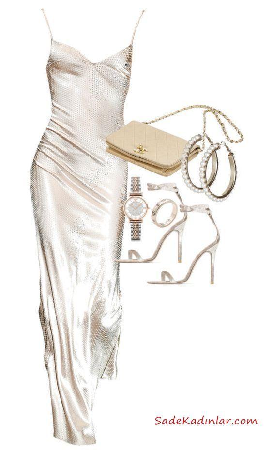 2019 Düğün Kombinleri Beyaz Uzun Askılı V Yaka ElbiseTopuklu Ayakkabı Krem Çanta