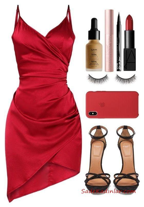 2019 Düğün Kombinleri Kırmızı Saten Kısa Askılı Asimetrik Etekli Elbise Siyah Stiletto