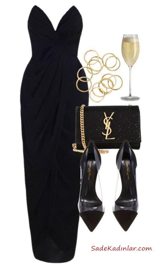 d586143103c52 2019 Düğün Kombinleri Siyah Uzun Straplez Elbise Siyah Stiletto Siyah Çanta.  «
