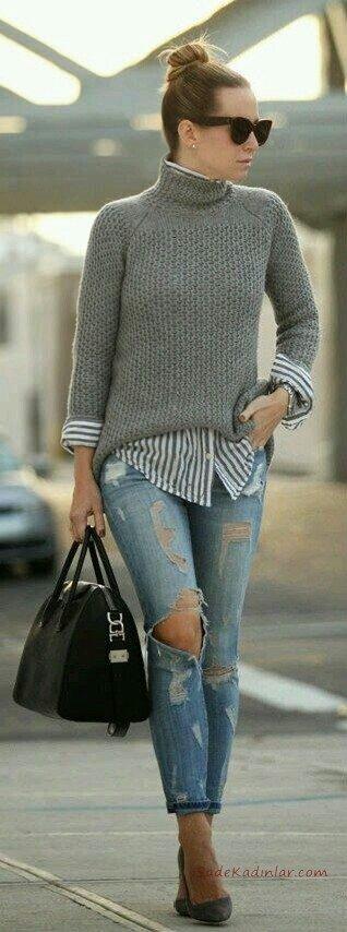 2019 Gömlek Kazak Kombinleri Mavi Yırtık Kot Pantolon Beyaz Çizgili Gömlek Gri Boğazlı Kazak Siyah Topuklu Ayakkabı