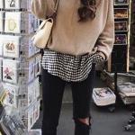 2019 Gömlek Kazak Kombinleri Siyah Skinny Pantolon Beyaz Desenli Gömlek Vizon Kazak Vizon Nubuk Topuklu Bot