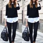 2019 Gömlek Kazak Kombinleri Siyah Skinny Pantolon Beyaz Gömlek Siyah Kazak Leopar Desenli Babet Ayakkabı