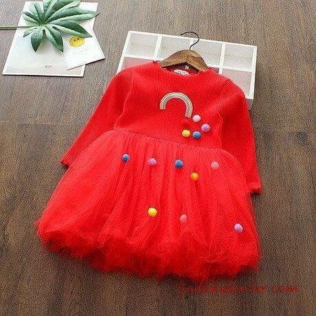 2019 Kız Çocuk Elbise Modelleri Kırmızı Kısa Uzun Kollu Renkli Ponponlu Tül Etekli
