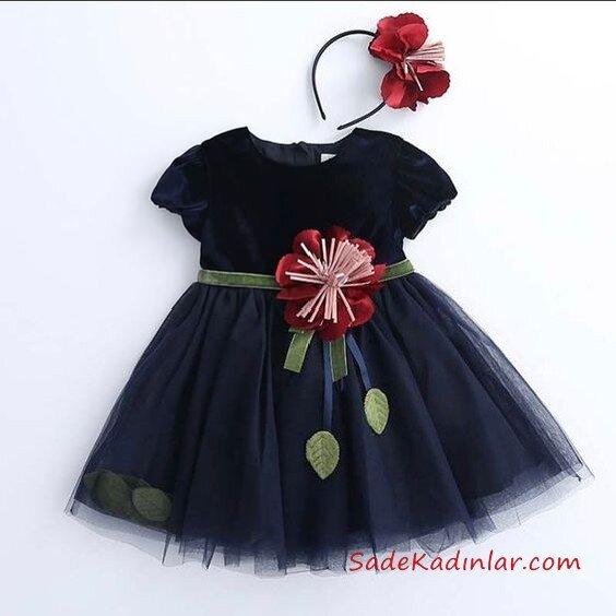 2019 Kız Çocuk Elbise Modelleri Lacivert Kısa Çiçek Aksesuarlı Kısa Kol Tül Etek