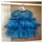 2019 Kız Çocuk Elbise Modelleri Mavi Kısa Kol Desenli Kabarık Tül Etekli