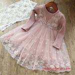 2019 Kız Çocuk Elbise Modelleri Pembe Kısa Uzun Kol Güpürlü Etekli