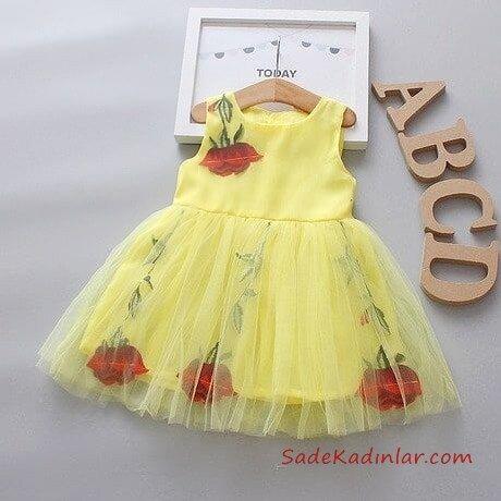 2019 Kız Çocuk Elbise Modelleri Sarı Kısa Askılı Tül Etekli Çiçek Desenli