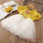 2019 Kız Çocuk Elbise Modelleri Sarı Kısa Beyaz Kabarık Tül Etekli
