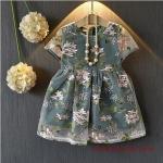 2019 Kız Çocuk Elbise Modelleri Yeşil KIsa Çiçek Desenli Kısa Kol