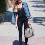 2019 Kot Ceket Kombinleri Siyah Skinny Pantolon Siyah Askılı Bluz Mavi Kot Ceket Vizon Topuklu Ayakkabı Vizon Çanta