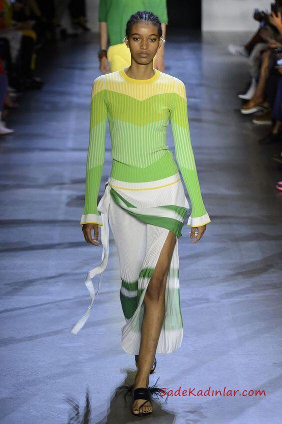 2019 Moda Trendleri Beyaz Uzun Derin Yırtmaçlı Etek Yeşil Uzun Kol Ombre Bluz