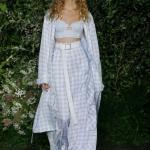 2019 Moda Trendleri Mavi Bol Pantolon Askılı Kısa Büstiyer ve Uzun Kol Ekose Desenli Hırka