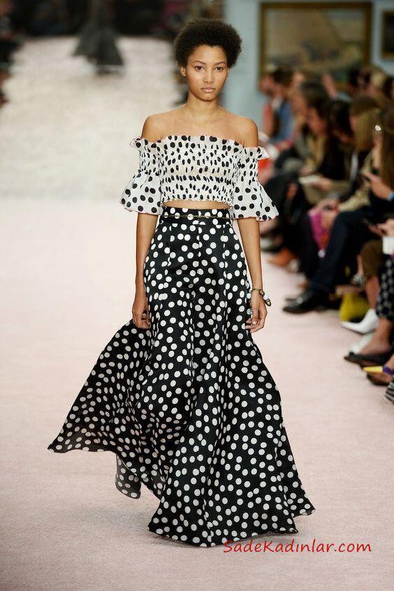 2019 Moda Trendleri Siyah Uzun Kloş Puantiyeli Etek Beyaz Straplez Düşük Kol Desenli Büstiyer