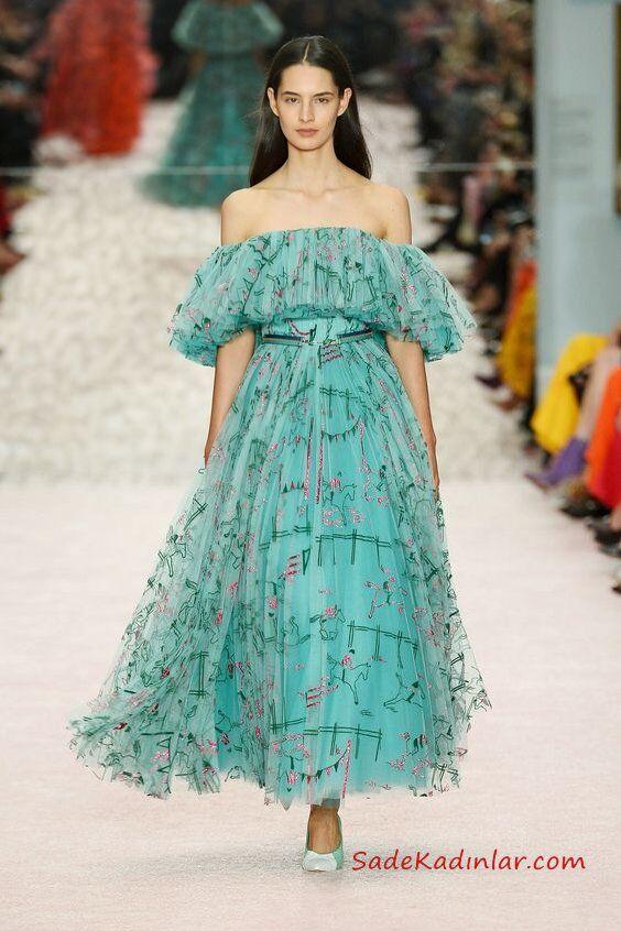 2019 Moda Trendleri Yeşil Uzun Straplez Düşük Kol Fırfır Detaylı Desenli Tül Elbise