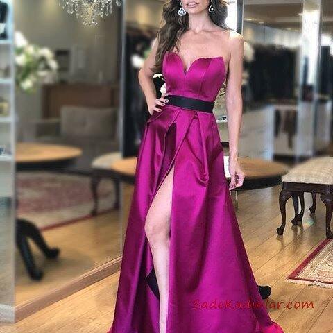 2019 Saten Elbise Modelleri Fuşya Uzun Straplez Kemerli Derin Yırtmaçlı