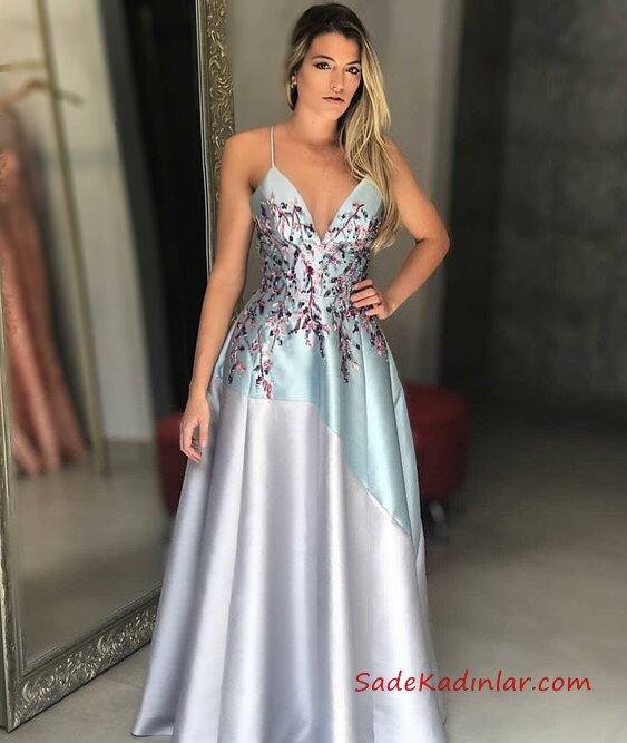 2019 Saten Elbise Modelleri Gri Uzun İp Askılı V Yakalı Nakış İşlemeli