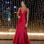 2019 Saten Elbise Modelleri Kırmızı Uzun İp Askılı V YAkalı