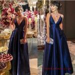 2019 Saten Elbise Modelleri Lacivert Uzun Askılı V YAkalı Kloş Etek Cepli