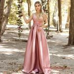 2019 Saten Elbise Modelleri Pudra Uzun Askılı Kalın Pileli Etekli