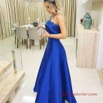 2019 Saten Elbise Modelleri Saks Mavisi Uzun Boyundan İp Askılı Yaka Kloş Etek