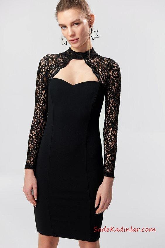 2019 Siyah Dantel Elbise Modelleri Siyah Kısa Uzun Kol Kolları Yakası Dantel Detaylı