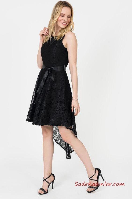 2019 Siyah Dantel Elbise Modelleri Siyah Önü Kısa Arkası Uzun Kolsuz Kurdela Kemerli Kloş Etekli