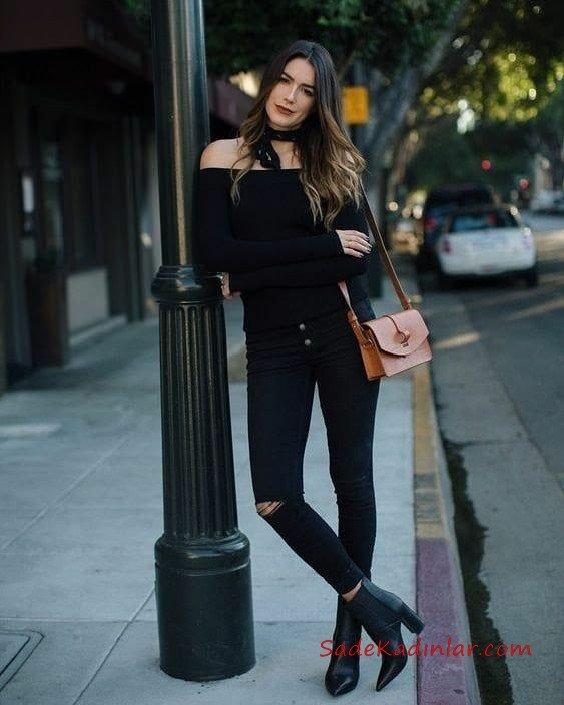 2020 Siyah Kot Pantolon Kombinleri Siyah Düşük Bel PAntolon Siyah Omzu Açık Uzun Kol Sade Kazak