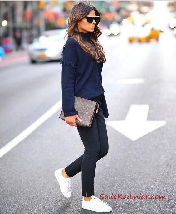 2019 Siyah Pantolon Kombinleri Siyah Pantolon Lacivert Uzun Kol Sweart
