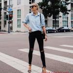 2019 Siyah Pantolon Kombinleri Siyah Yırtık Skinny Pantolon Mavi Uzun Kol Gömlek