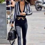 2019 Siyah Pantolon Kombinleri Siyah Yüksel Bel Pantolon Beyaz Uzun Kol Çizgili Göğüs Dekolteli Gömlek